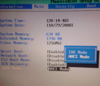 ahci bios - Как установить XP на ноутбук, где была VISTA
