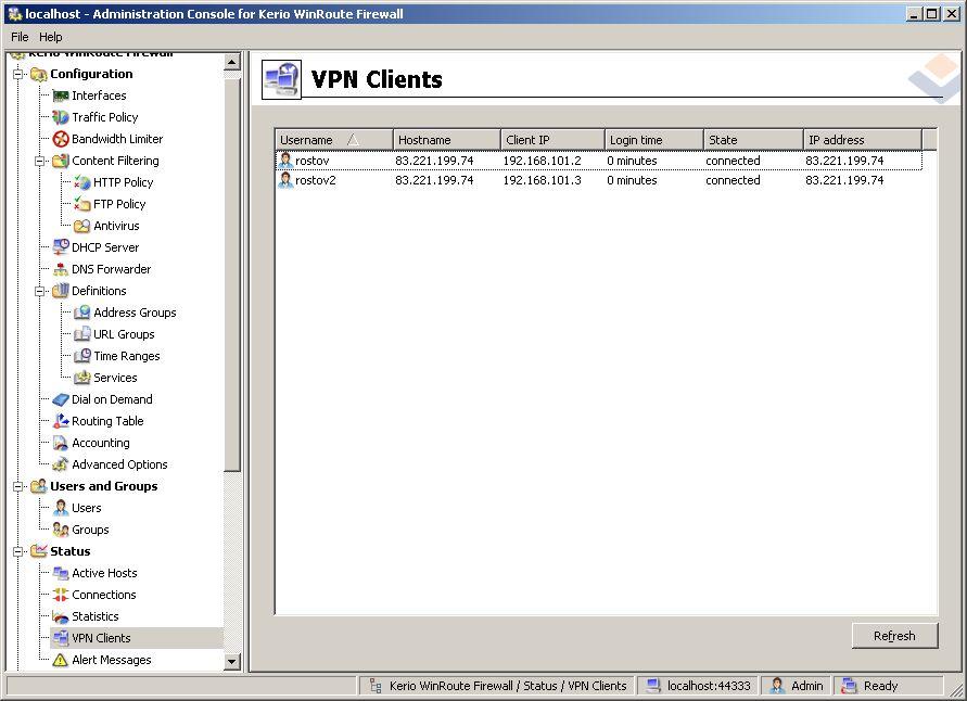 kerio vpn server 5 - Настройка Kerio VPN Server для подключения отдельных VPN клиентов