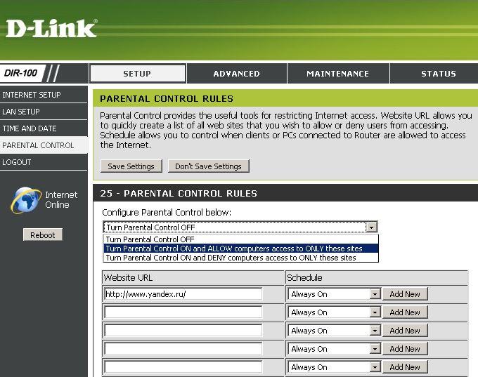 dir 100 parental control - Настройка родительского контроля в роутере D-Link DIR-100