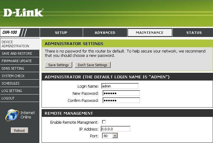 dir 100 password remote managment - Как настроить управление роутером D-Link DIR-100 из интернета