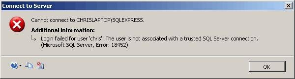 sql server error 18542 1 - MS SQL — The user is not associated with a trusted SQL Server connections.