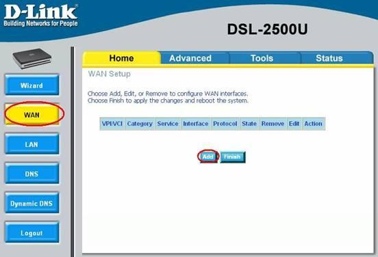 settings dlink 2500 3 - Настройка модема D-Link DSL 2500 для ЮТК (Режим роутера)