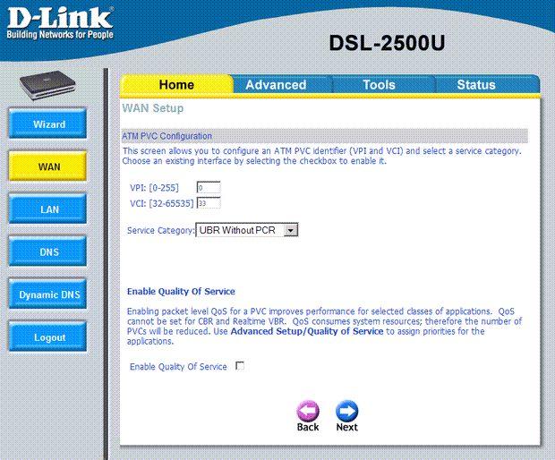 settings dlink 2500 4 - Настройка модема D-Link DSL 2500 для ЮТК (Режим роутера)