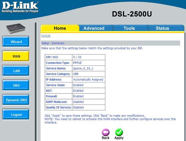 settings dlink 2500 8 - Настройка модема D-Link DSL 2500 для ЮТК (Режим роутера)