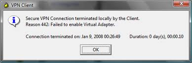 "442 - Cisco VPN ""Reason 442: Failed to enable Virtual Adapter"""