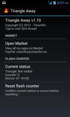 2043379 - Samsung Galaxy / как убрать желтый треугольник на ICS