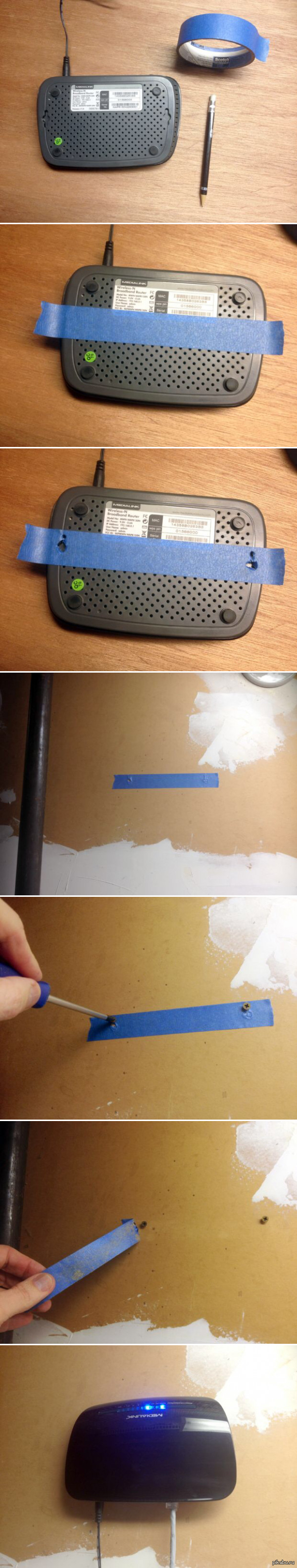 3 - Лайфхак / как отметить отверстия на стене под роутер или свич