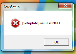 1 - Ошибка AsusSetup ***Log.ini is lost и [SetupInfo] value is NULL